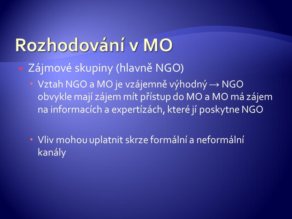  Zájmové skupiny (hlavně NGO)  Vztah NGO a MO je vzájemně výhodný → NGO obvykle mají zájem mít přístup do MO a MO má zájem na informacích a expertízách, které jí poskytne NGO  Vliv mohou uplatnit skrze formální a neformální kanály