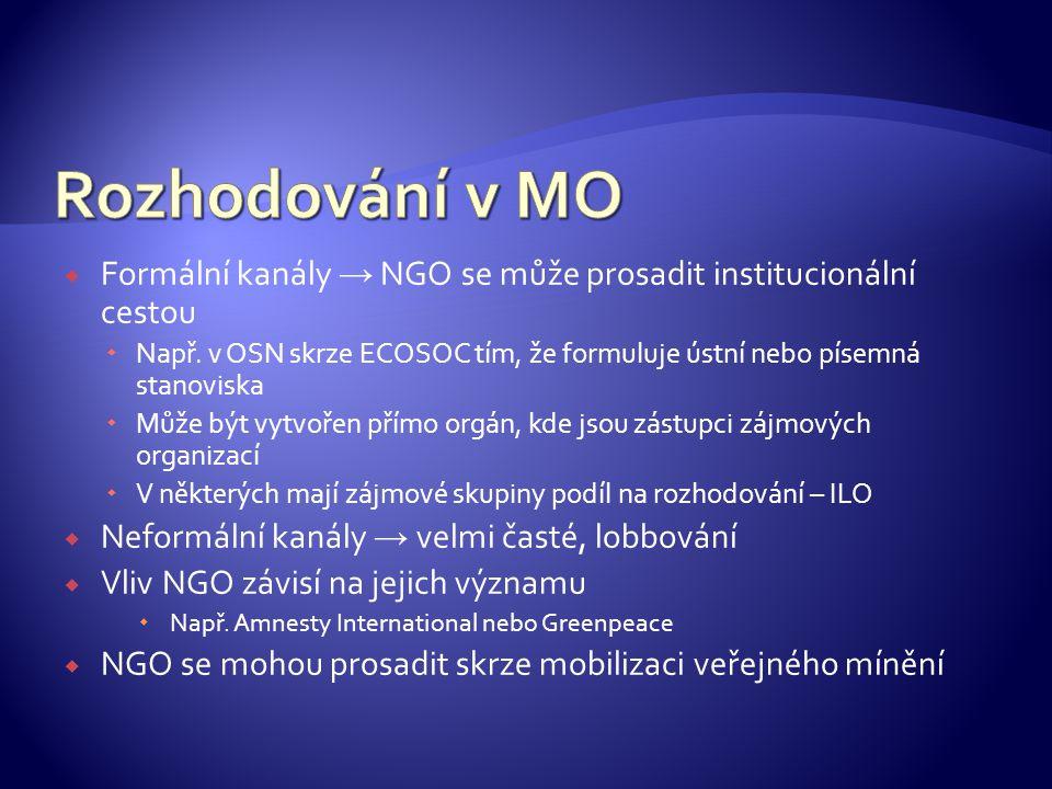  Formální kanály → NGO se může prosadit institucionální cestou  Např.