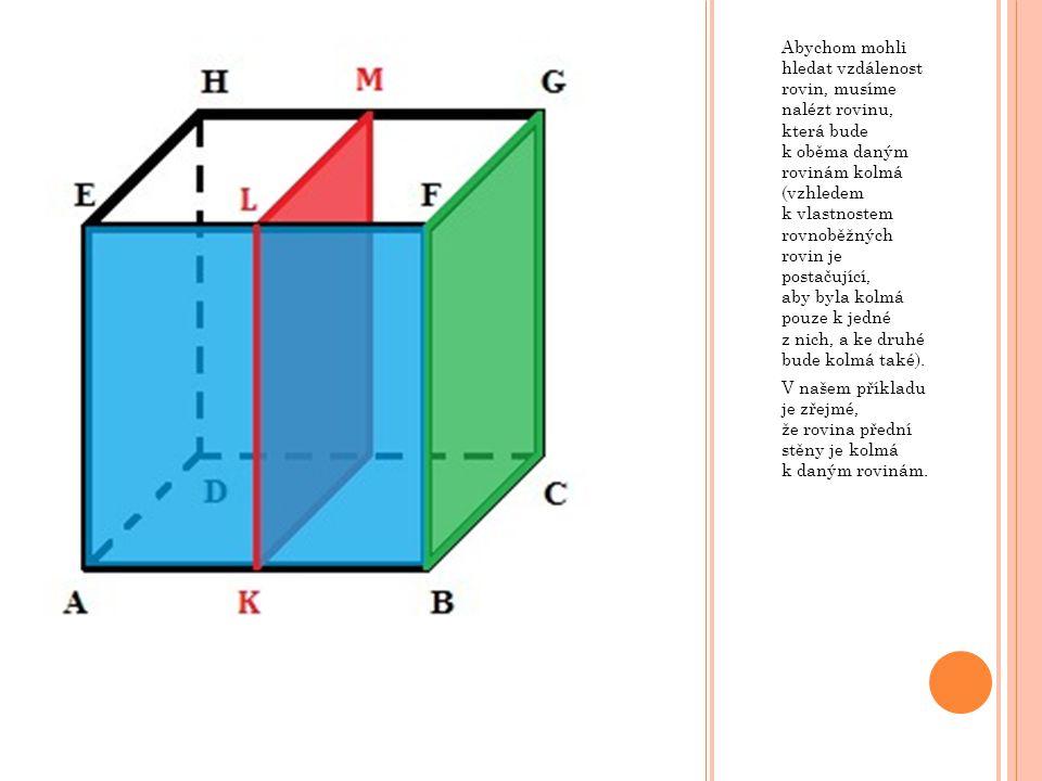 Abychom mohli hledat vzdálenost rovin, musíme nalézt rovinu, která bude k oběma daným rovinám kolmá (vzhledem k vlastnostem rovnoběžných rovin je post