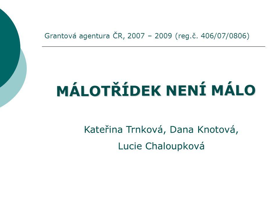 MÁLOTŘÍDEK NENÍ MÁLO Kateřina Trnková, Dana Knotová, Lucie Chaloupková Grantová agentura ČR, 2007 – 2009 (reg.č. 406/07/0806)