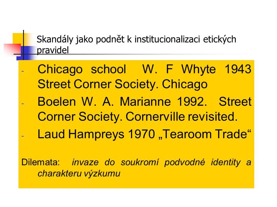 - Chicago school W. F Whyte 1943 Street Corner Society. Chicago - Boelen W. A. Marianne 1992. Street Corner Society. Cornerville revisited. - Laud Ham