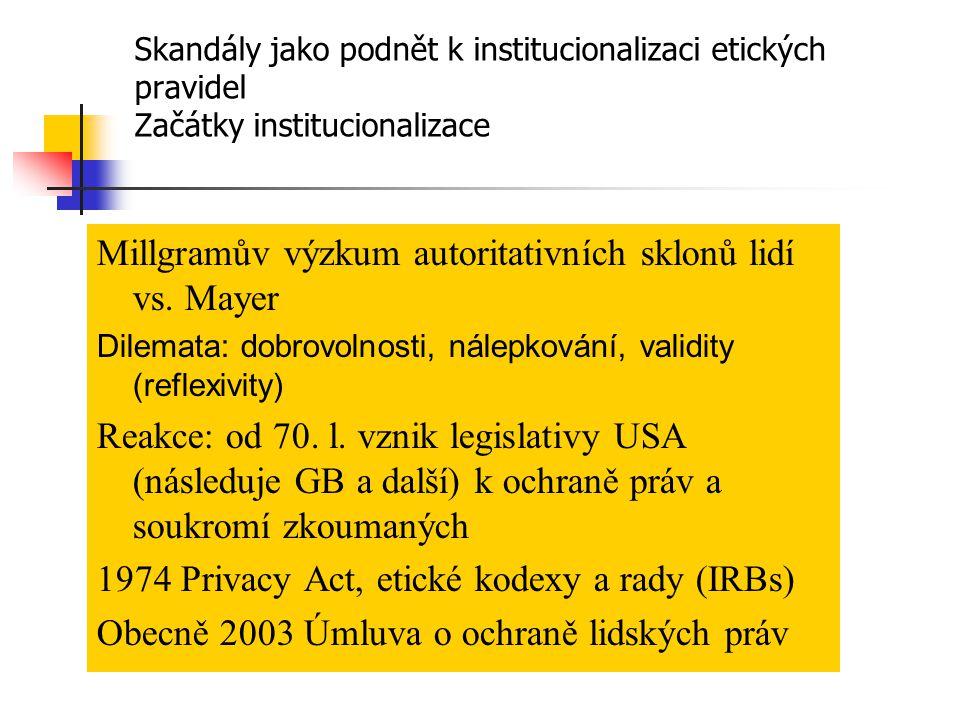 Zákony týkající se kvalitativního výzkumu Ústava ČR a Listina základních práv a svobod (právo na zachování lidské důstojnosti, cti, dobré pověsti a ochraně jména, právo před neoprávněným zasahováním do soukromí, právo na ochranu před neoprávněným shromažďováním zveřejňováním a zneužíváním osobních údajů) Občanský zákoník (nyní se mění) Zákon o ochraně osobních údajů č.