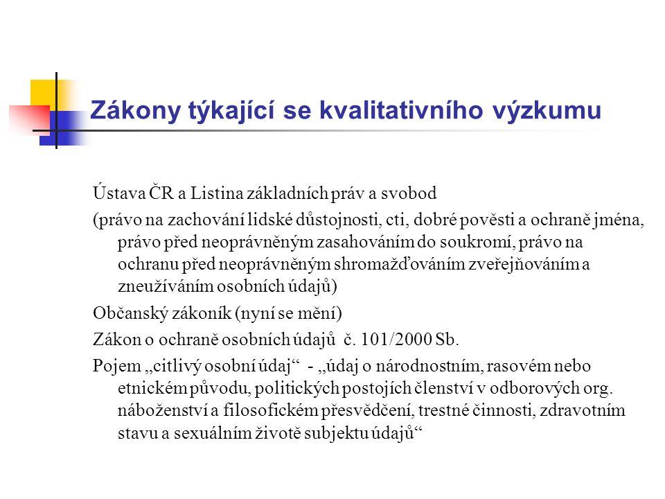 Zákony týkající se kvalitativního výzkumu Ústava ČR a Listina základních práv a svobod (právo na zachování lidské důstojnosti, cti, dobré pověsti a oc