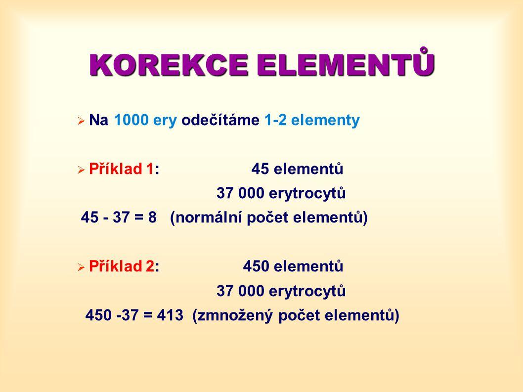 KOREKCE ELEMENTŮ  Na 1000 ery odečítáme 1-2 elementy  Příklad 1: 45 elementů 37 000 erytrocytů 45 - 37 = 8 (normální počet elementů)  Příklad 2: 45