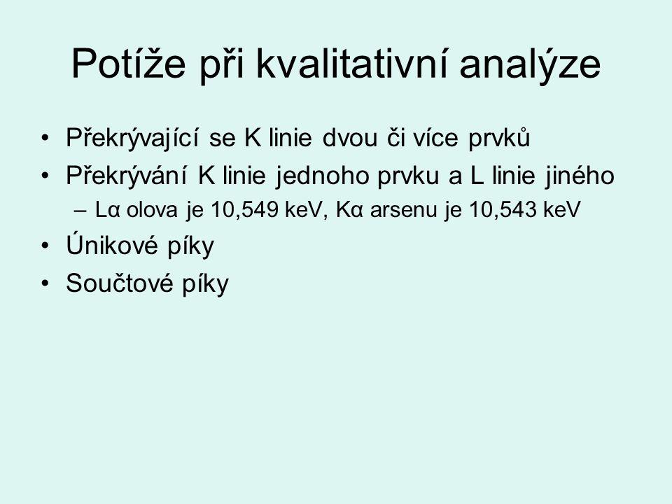 Potíže při kvalitativní analýze Překrývající se K linie dvou či více prvků Překrývání K linie jednoho prvku a L linie jiného –Lα olova je 10,549 keV, Kα arsenu je 10,543 keV Únikové píky Součtové píky