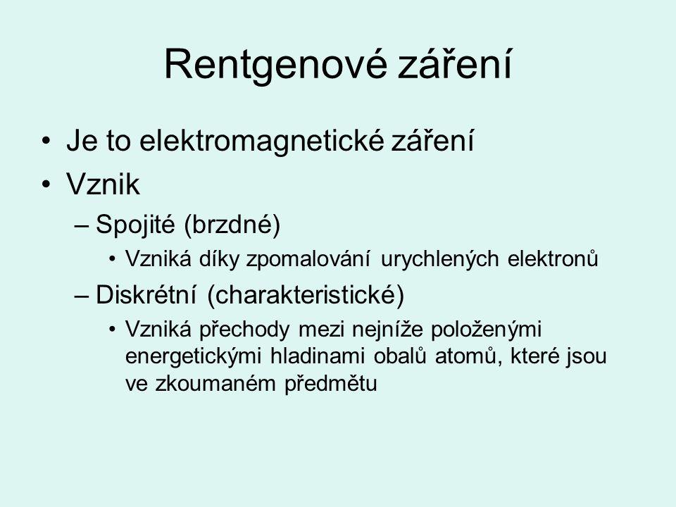 Rentgenové záření Je to elektromagnetické záření Vznik –Spojité (brzdné) Vzniká díky zpomalování urychlených elektronů –Diskrétní (charakteristické) Vzniká přechody mezi nejníže položenými energetickými hladinami obalů atomů, které jsou ve zkoumaném předmětu
