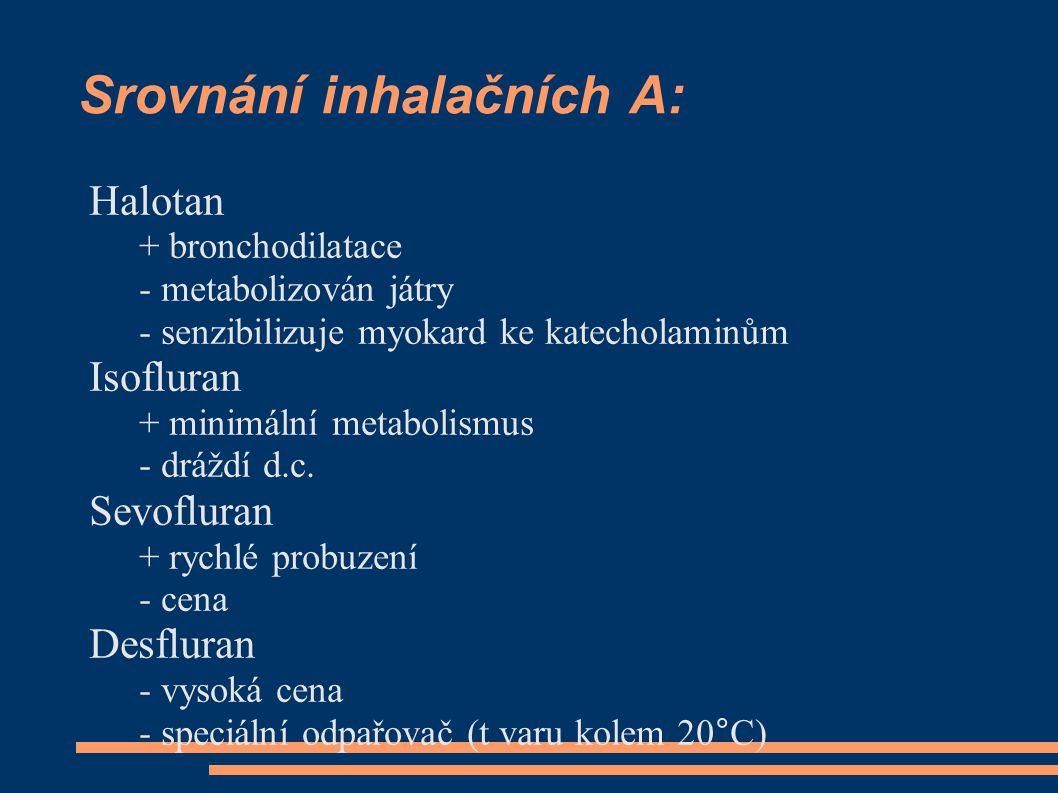 Srovnání inhalačních A: Halotan + bronchodilatace - metabolizován játry - senzibilizuje myokard ke katecholaminům Isofluran + minimální metabolismus - dráždí d.c.