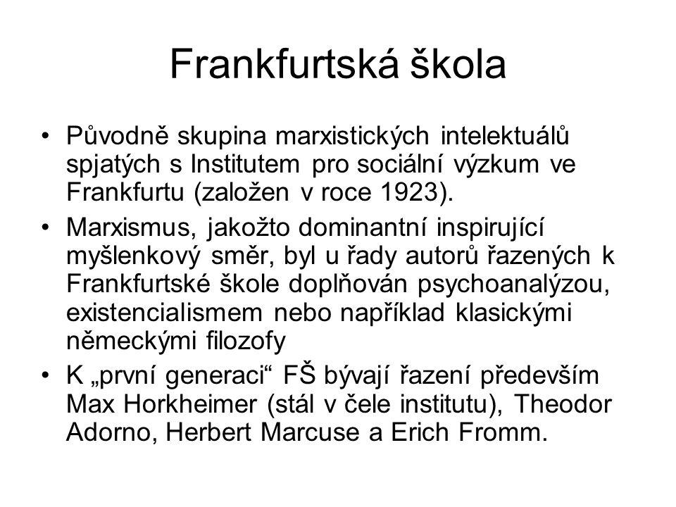 Frankfurtská škola Původně skupina marxistických intelektuálů spjatých s Institutem pro sociální výzkum ve Frankfurtu (založen v roce 1923).
