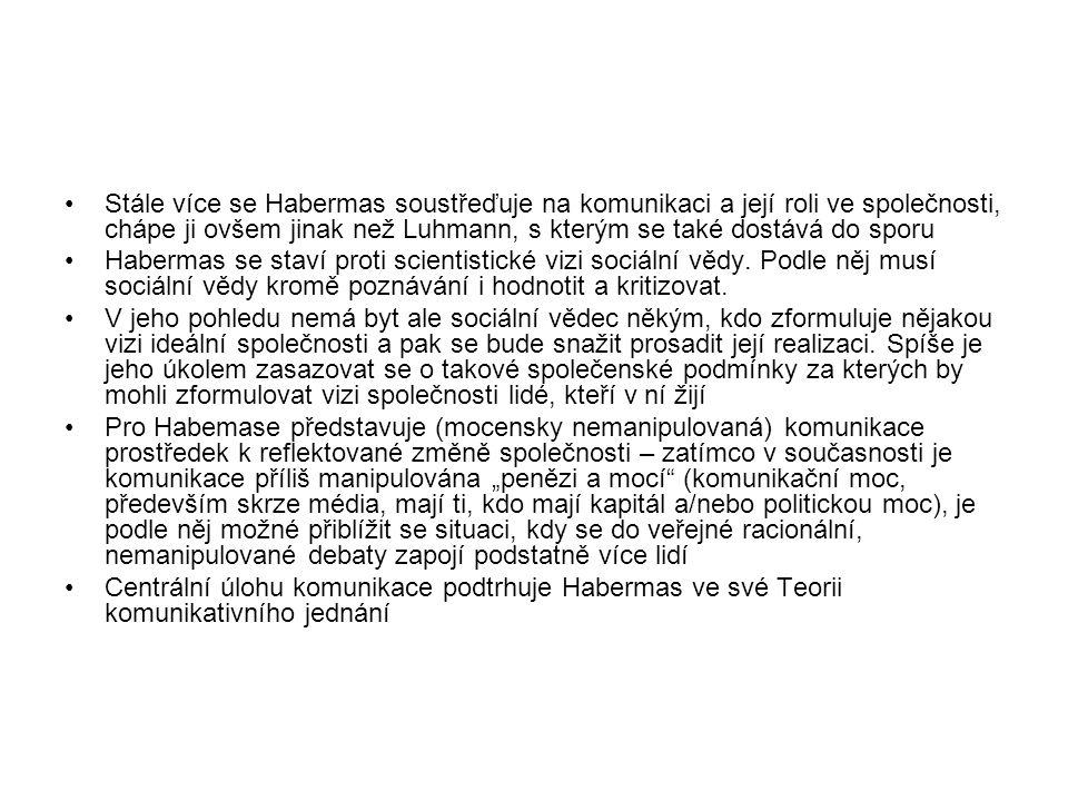 Stále více se Habermas soustřeďuje na komunikaci a její roli ve společnosti, chápe ji ovšem jinak než Luhmann, s kterým se také dostává do sporu Habermas se staví proti scientistické vizi sociální vědy.