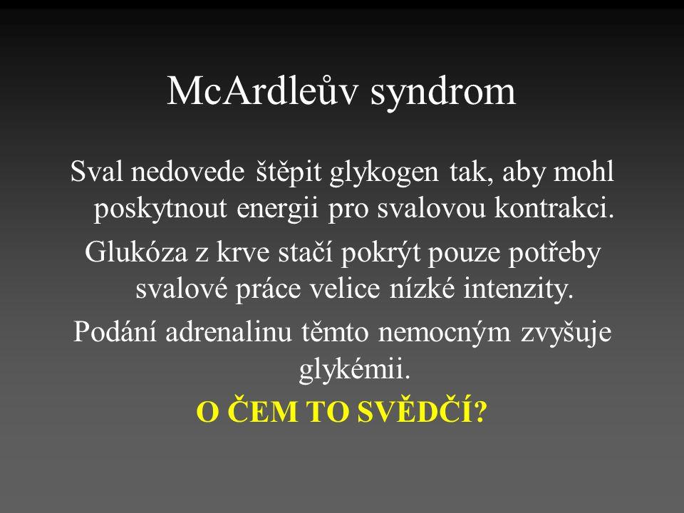 McArdleův syndrom Sval nedovede štěpit glykogen tak, aby mohl poskytnout energii pro svalovou kontrakci. Glukóza z krve stačí pokrýt pouze potřeby sva