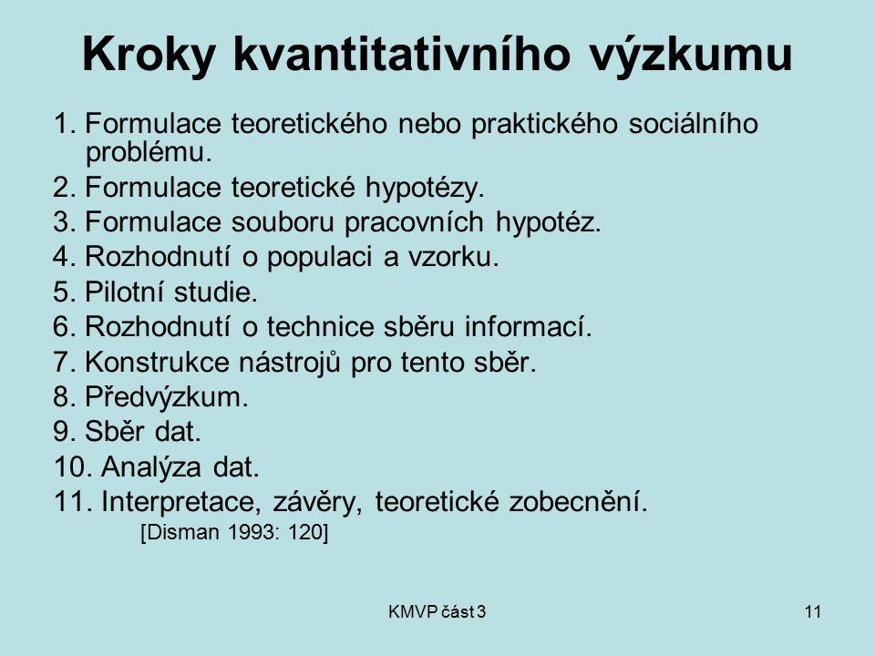 KMVP část 311 Kroky kvantitativního výzkumu 1. Formulace teoretického nebo praktického sociálního problému. 2. Formulace teoretické hypotézy. 3. Formu