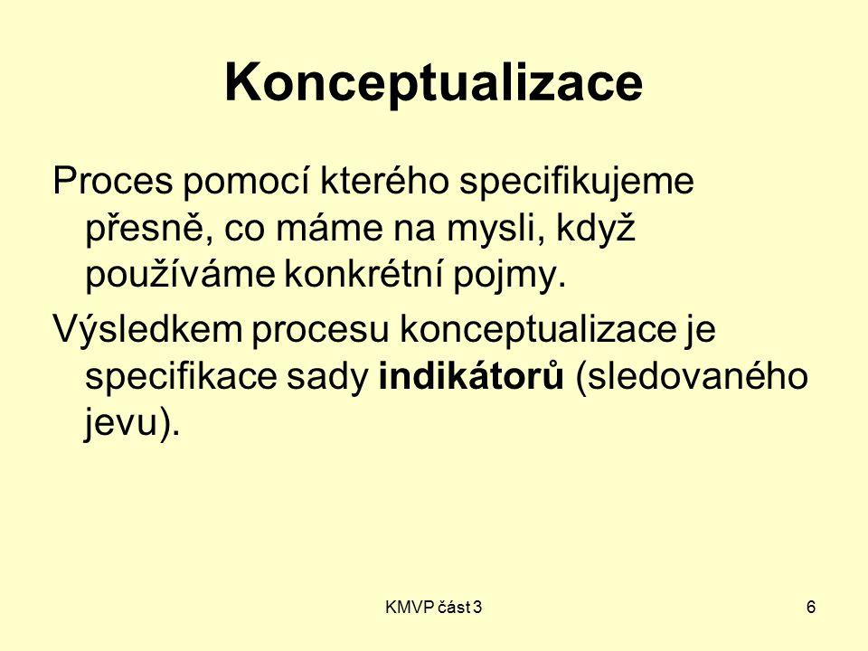 KMVP část 36 Konceptualizace Proces pomocí kterého specifikujeme přesně, co máme na mysli, když používáme konkrétní pojmy. Výsledkem procesu konceptua