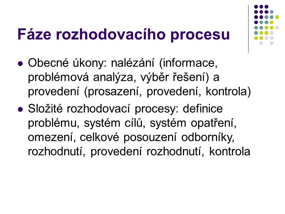 Fáze rozhodovacího procesu Obecné úkony: nalézání (informace, problémová analýza, výběr řešení) a provedení (prosazení, provedení, kontrola) Složité r