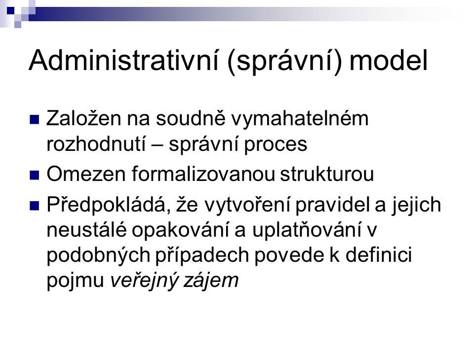 Administrativní (správní) model Založen na soudně vymahatelném rozhodnutí – správní proces Omezen formalizovanou strukturou Předpokládá, že vytvoření