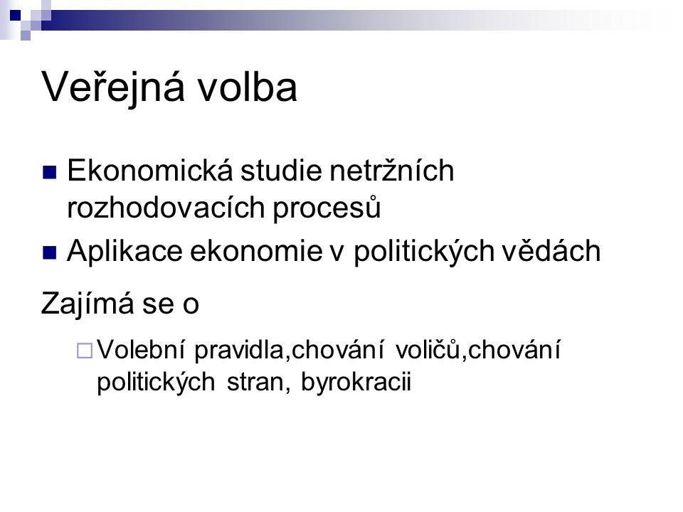 Veřejná volba Ekonomická studie netržních rozhodovacích procesů Aplikace ekonomie v politických vědách Zajímá se o  Volební pravidla,chování voličů,c