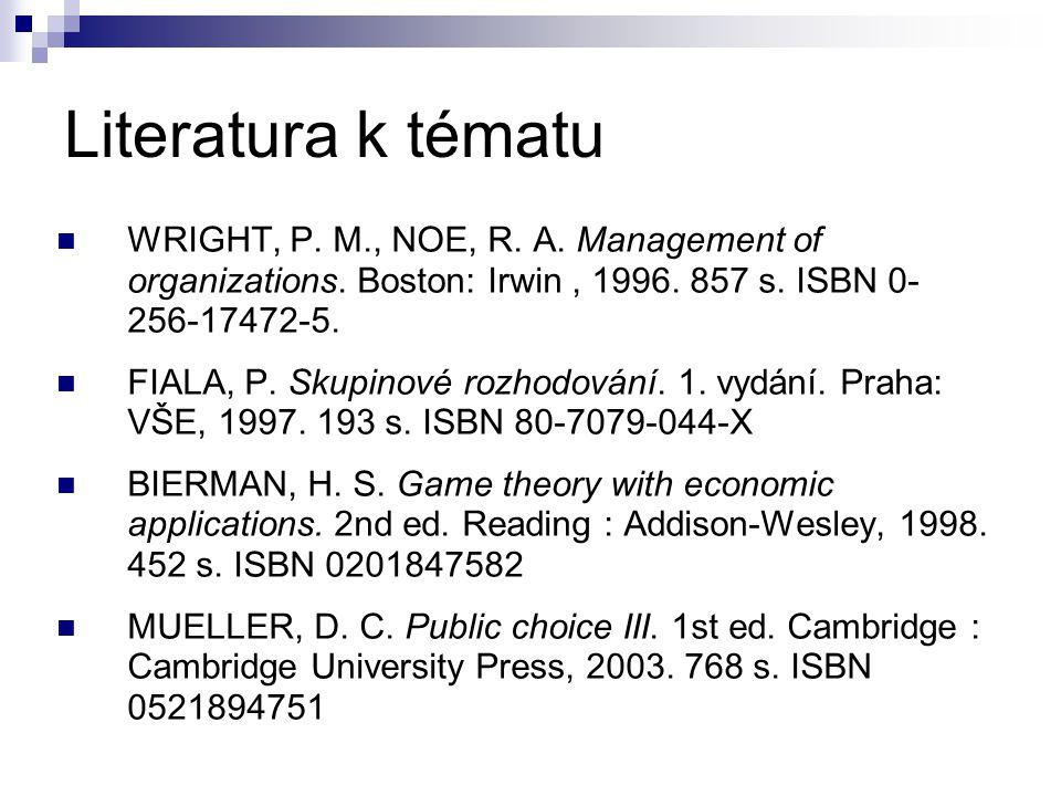 Literatura k tématu WRIGHT, P. M., NOE, R. A. Management of organizations. Boston: Irwin, 1996. 857 s. ISBN 0- 256-17472-5. FIALA, P. Skupinové rozhod