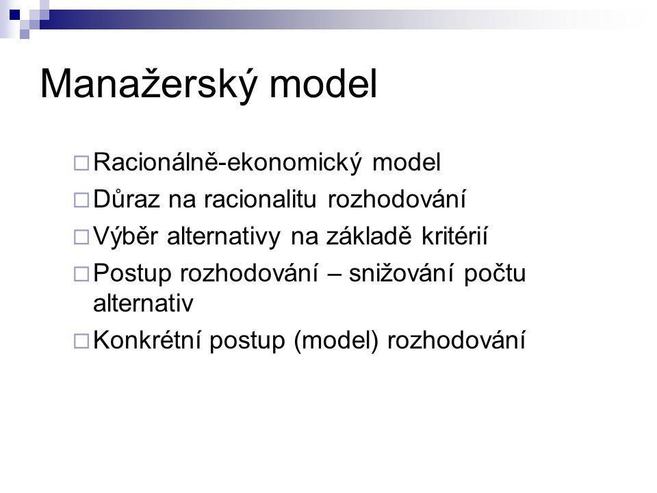 Manažerský model  Racionálně-ekonomický model  Důraz na racionalitu rozhodování  Výběr alternativy na základě kritérií  Postup rozhodování – snižo