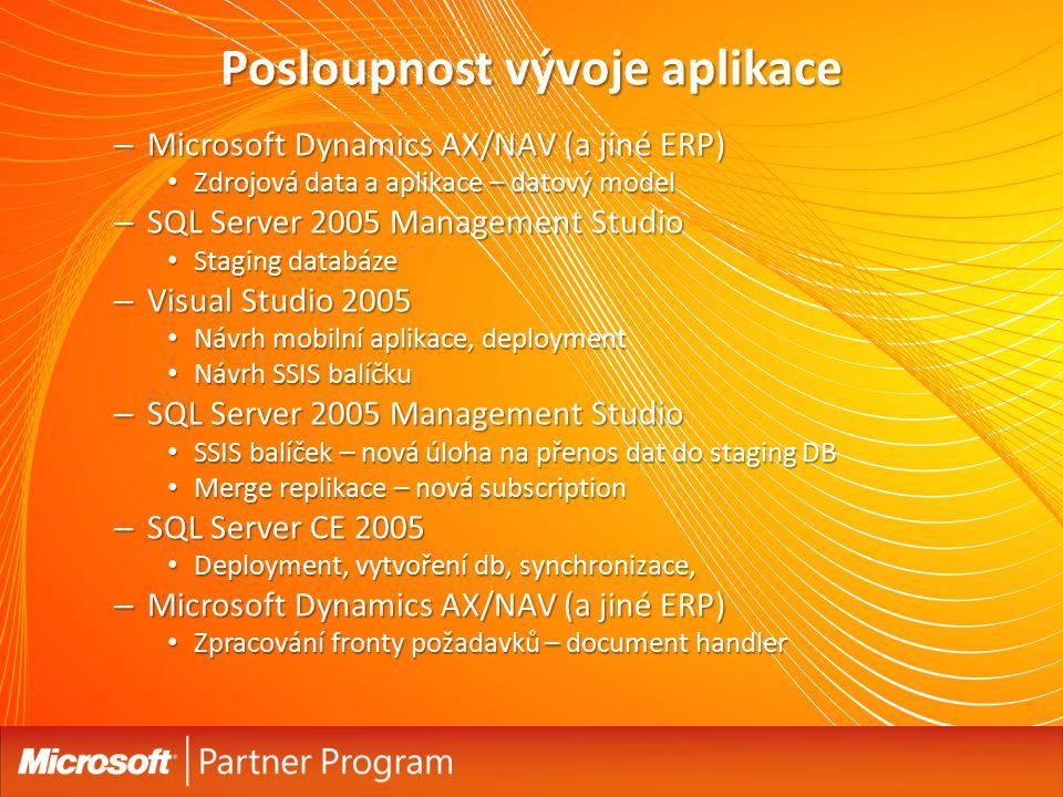 Posloupnost vývoje aplikace – Microsoft Dynamics AX/NAV (a jiné ERP) Zdrojová data a aplikace – datový model Zdrojová data a aplikace – datový model – SQL Server 2005 Management Studio Staging databáze Staging databáze – Visual Studio 2005 Návrh mobilní aplikace, deployment Návrh mobilní aplikace, deployment Návrh SSIS balíčku Návrh SSIS balíčku – SQL Server 2005 Management Studio SSIS balíček – nová úloha na přenos dat do staging DB SSIS balíček – nová úloha na přenos dat do staging DB Merge replikace – nová subscription Merge replikace – nová subscription – SQL Server CE 2005 Deployment, vytvoření db, synchronizace, Deployment, vytvoření db, synchronizace, – Microsoft Dynamics AX/NAV (a jiné ERP) Zpracování fronty požadavků – document handler Zpracování fronty požadavků – document handler