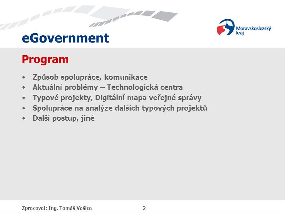 eGovernment Program Způsob spolupráce, komunikace Aktuální problémy – Technologická centra Typové projekty, Digitální mapa veřejné správy Spolupráce n
