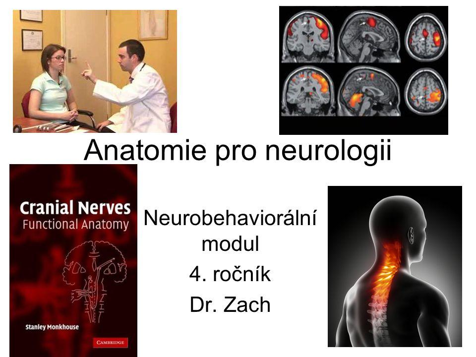 a) obecné principy uspořádání obvodové nervové soustavy b) hlavové nervy – základní průběh (jádro, výstup z kmene, průběh průchodem lebky, oblast inervace – somatomotorická/senzitivní, visceromotorická/senzitivní, senzorická; vyšetření, reflexy a základní poruchy (dráždění a obrny: anosmie, hyposmie, hyperosmie, parosmie, kakosmie, čichová halucinace, feromonální teorie u člověka, zorné pole, amaurosis, hemianopsie, skotom a centrální skotom, fosfény, nádory hypofýzy, strabismus konvergentní a divergentní, ptóza, mióza/mydriáza, diplopie, akomodace, neuralgia trigeminalis, mikrovaskulární dekomprese, herpes zoster ophthalmicus, herpes simplex, periferní a centrální obrna nervus facialis – lagophthalmus, xerophthalmia, xerostomia, hyperacusis, pokleslý koutek, ageusia; hemispasmus faciei, parotidektomie; hypacusis, anacusis, surditas, vertigo, nausea, tinnitus, nystagmus, neurinom akustiku; neuralgia glossopharyngea, herpes zoster oticus, stimulace nervus vagus; torticollis, scapula alata; hemiglossoplegie) c) míšní nervy – kořeny každého nervu, pleteně (plexus cervicalis, brachialis, lumbalis, sacralis), základní průběh a topografická místa, oblast inervace, vyšetření, reflexy a základní poruchy (úžinové syndromy a obrny, reflexy) d) autonomní nervy – sympatikus a parasympatikus – základní uspořádání, oblast inervace, reflexy a základní poruchy (Claude Bernardův-Hornerův syndrom, akutní a chronická aktivace sympatiku, mióza, mydriáza, poruchy akomodace) e) mícha – stavba šedé a bílé hmoty (jádra a dráhy), anatomický podklad základních poruch a jejich základních diagnostických a léčebných postupů a prostředků (subdurální a epidurální anestézie, periferní a centrální obrna, transverzální míšní léze, Brownův-Séquardův syndrom, roztroušená skleróza, amyotrofická laterální skleróza, míšní stimulace) f) mozkový kmen – stavba šedé a bílé hmoty (jádra a dráhy), retikulární formace, anatomický podklad základních poruch (kmenové reflexy, spánek /REM fáze/, roztroušená skleróz