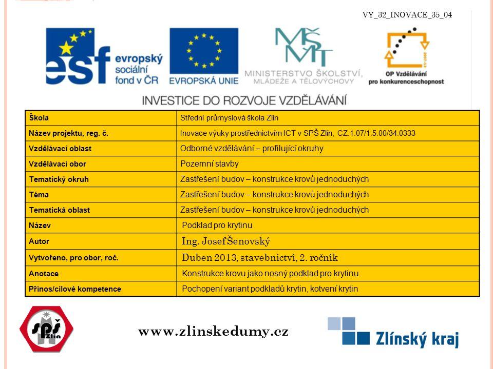 VY_32_INOVACE_35_04 www.zlinskedumy.cz ŠkolaStřední průmyslová škola Zlín Název projektu, reg. č.Inovace výuky prostřednictvím ICT v SPŠ Zlín, CZ.1.07