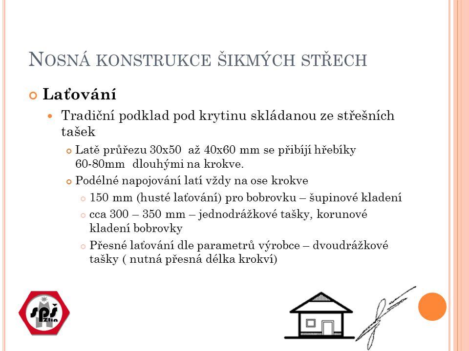 N OSNÁ KONSTRUKCE ŠIKMÝCH STŘECH Laťování Tradiční podklad pod krytinu skládanou ze střešních tašek Latě průřezu 30x50 až 40x60 mm se přibíjí hřebíky
