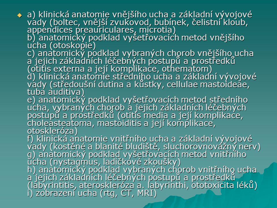  a) klinická anatomie vnějšího ucha a základní vývojové vady (boltec, vnější zvukovod, bubínek, čelistní kloub, appendices preauriculares, microtia)