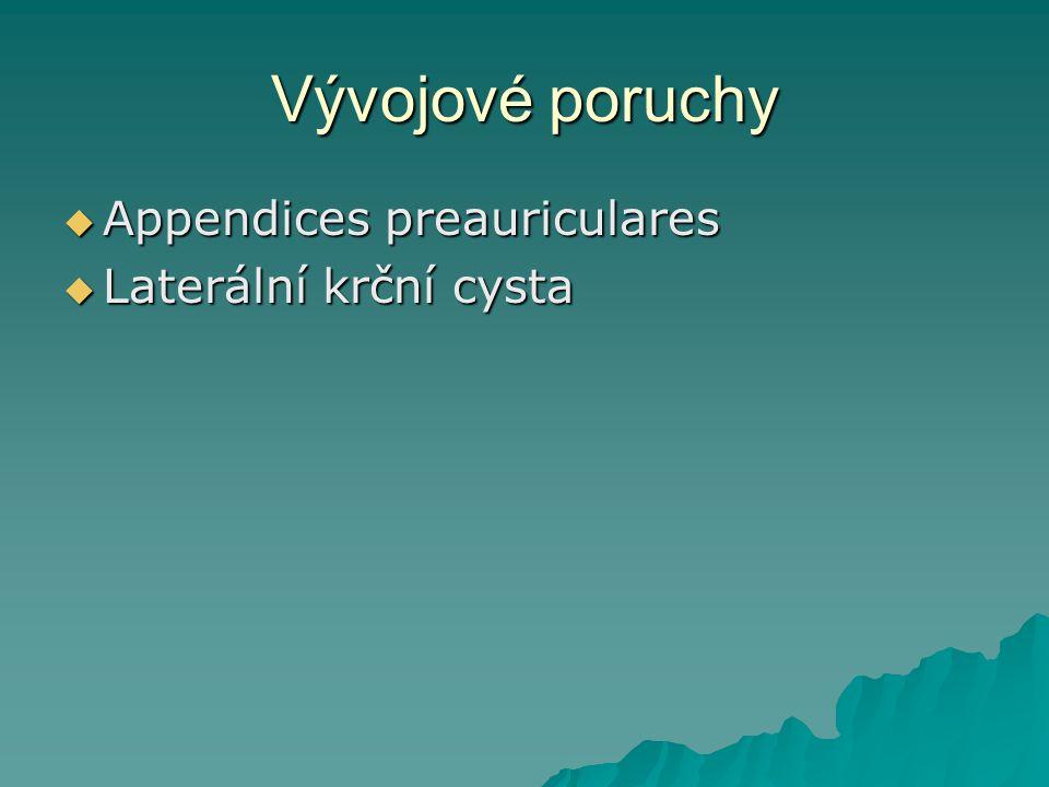 Vývojové poruchy  Appendices preauriculares  Laterální krční cysta