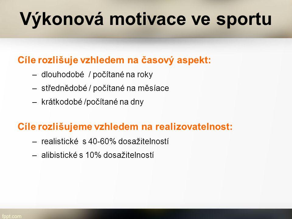 Výkonová motivace ve sportu Cíle rozlišuje vzhledem na časový aspekt: –dlouhodobé / počítané na roky –střednědobé / počítané na měsíace –krátkodobé /p