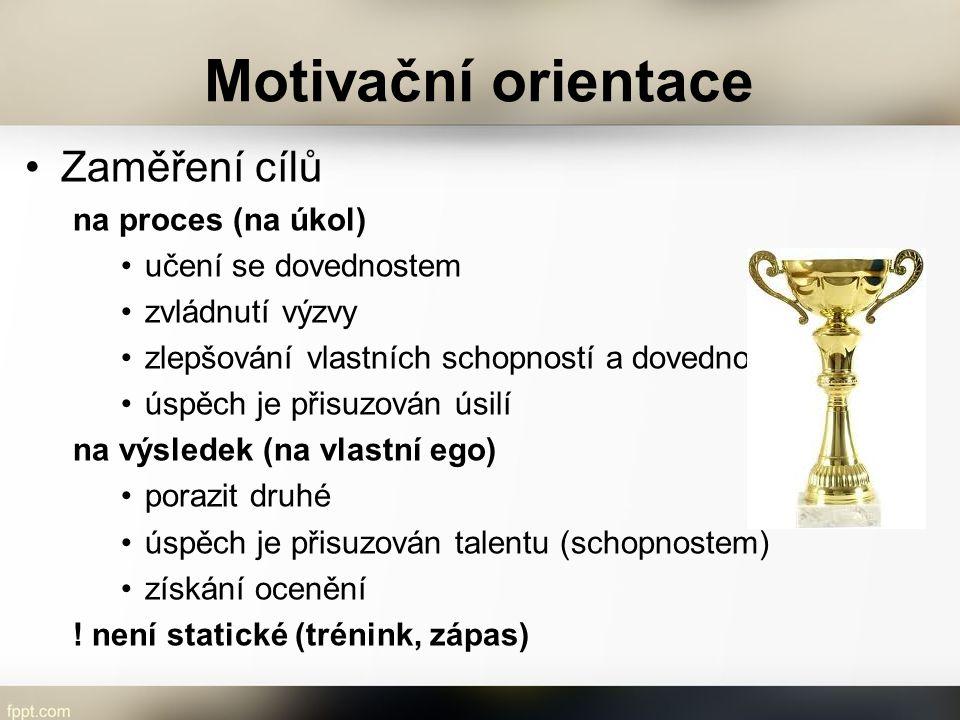 Motivační orientace Zaměření cílů na proces (na úkol) učení se dovednostem zvládnutí výzvy zlepšování vlastních schopností a dovedností úspěch je přis