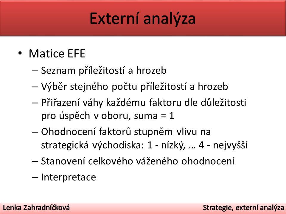 Matice EFE – Seznam příležitostí a hrozeb – Výběr stejného počtu příležitostí a hrozeb – Přiřazení váhy každému faktoru dle důležitosti pro úspěch v oboru, suma = 1 – Ohodnocení faktorů stupněm vlivu na strategická východiska: 1 - nízký, … 4 - nejvyšší – Stanovení celkového váženého ohodnocení – Interpretace