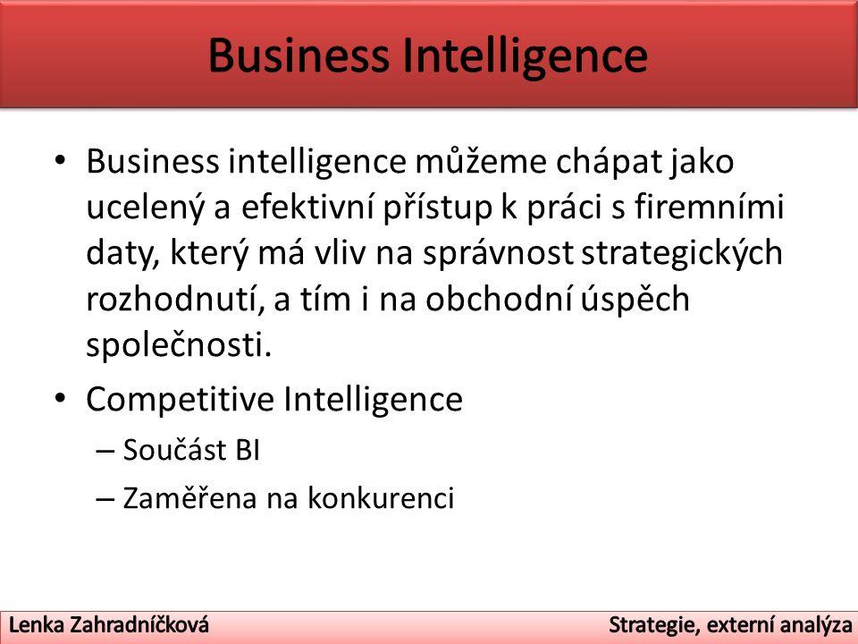 Business intelligence můžeme chápat jako ucelený a efektivní přístup k práci s firemními daty, který má vliv na správnost strategických rozhodnutí, a tím i na obchodní úspěch společnosti.