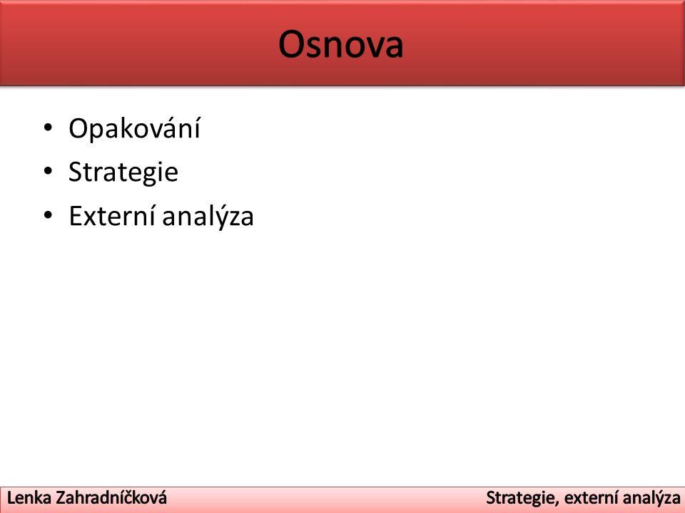 Opakování Strategie Externí analýza