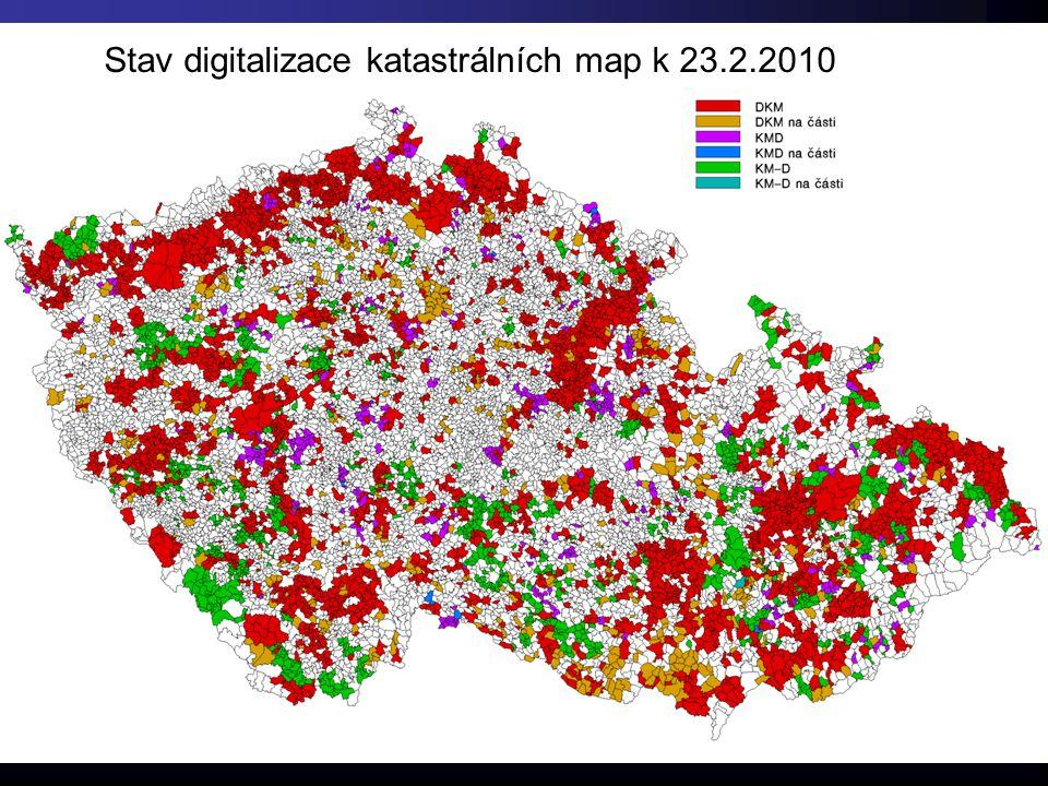 Stav digitalizace katastrálních map k 23.2.2010