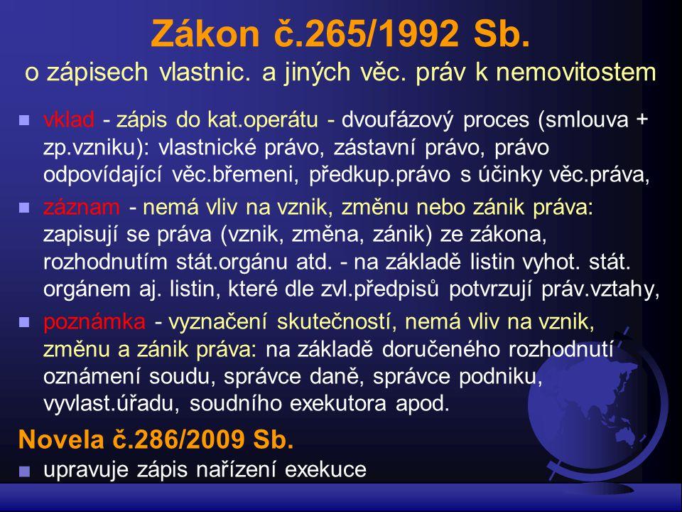 Zákon č.265/1992 Sb.o zápisech vlastnic. a jiných věc.
