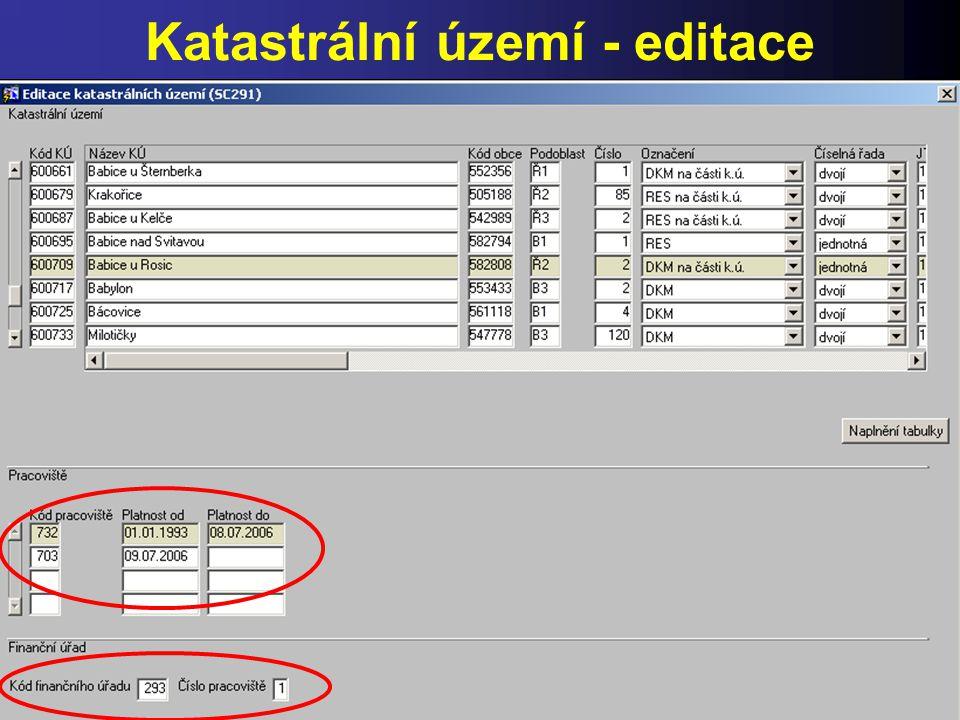 Katastrální území - editace
