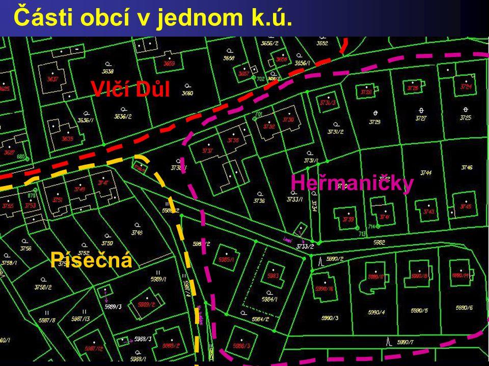 Části obcí v jednom k.ú. Vlčí Důl Písečná Heřmaničky