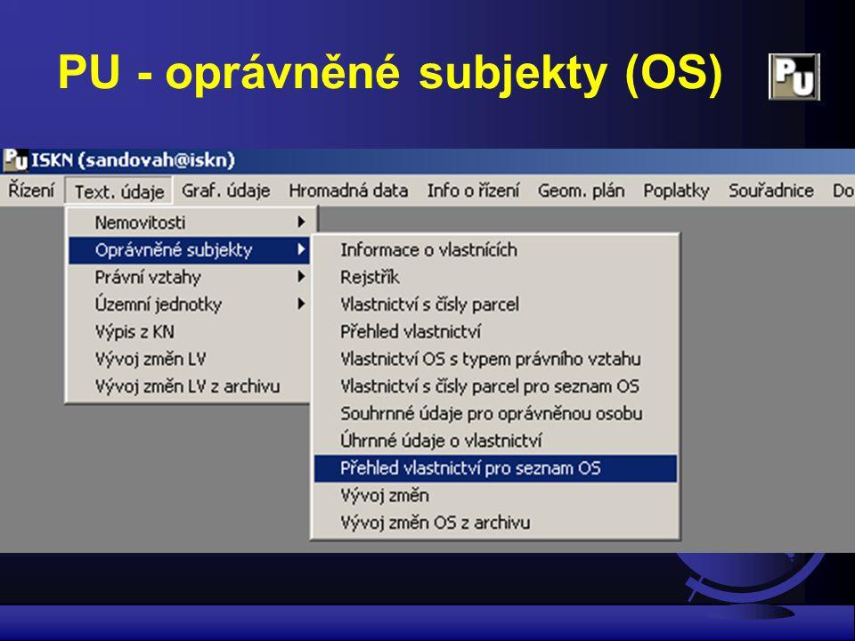 PU - oprávněné subjekty (OS)