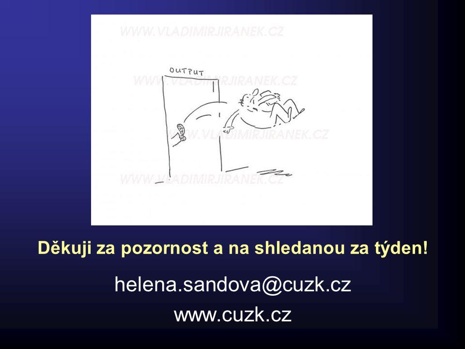 Děkuji za pozornost a na shledanou za týden! helena.sandova@cuzk.cz www.cuzk.cz