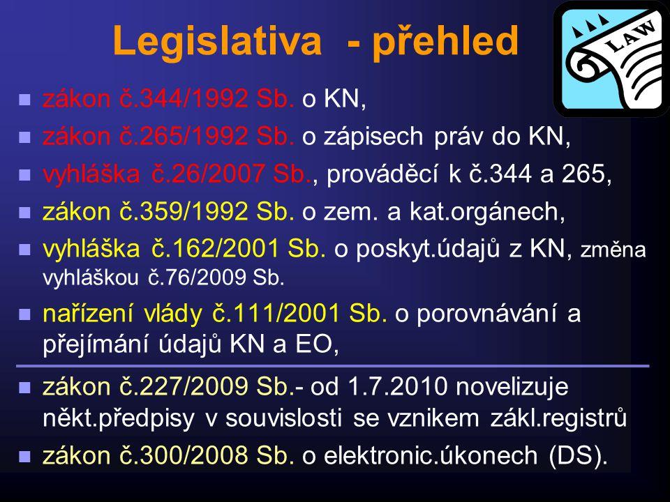 Legislativa - přehled n zákon č.344/1992 Sb. o KN, n zákon č.265/1992 Sb. o zápisech práv do KN, n vyhláška č.26/2007 Sb., prováděcí k č.344 a 265, n