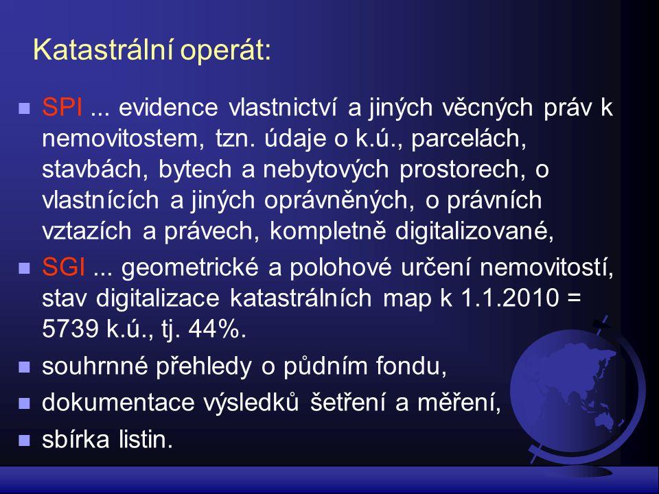 Katastrální operát: n SPI... evidence vlastnictví a jiných věcných práv k nemovitostem, tzn. údaje o k.ú., parcelách, stavbách, bytech a nebytových pr