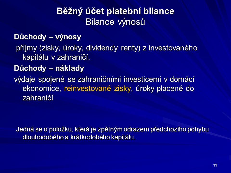 Běžný účet platební bilance Bilance výnosů Důchody – výnosy příjmy (zisky, úroky, dividendy renty) z investovaného kapitálu v zahraničí.