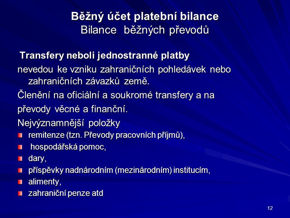 Běžný účet platební bilance Bilance běžných převodů Transfery neboli jednostranné platby Transfery neboli jednostranné platby nevedou ke vzniku zahraničních pohledávek nebo zahraničních závazků země.