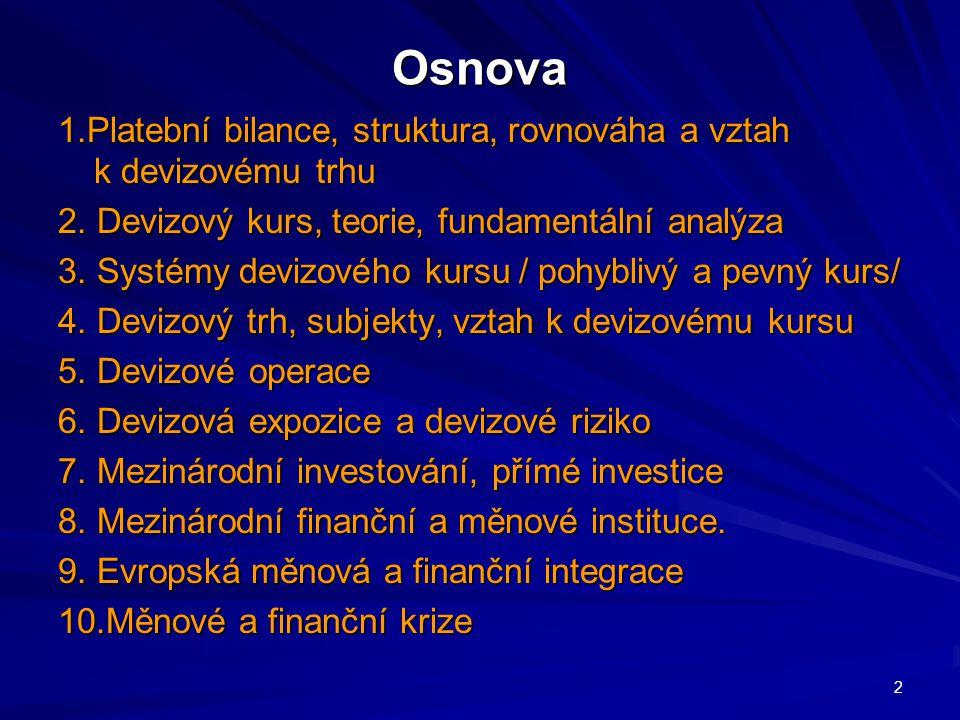 Osnova 1.Platební bilance, struktura, rovnováha a vztah k devizovému trhu 2.
