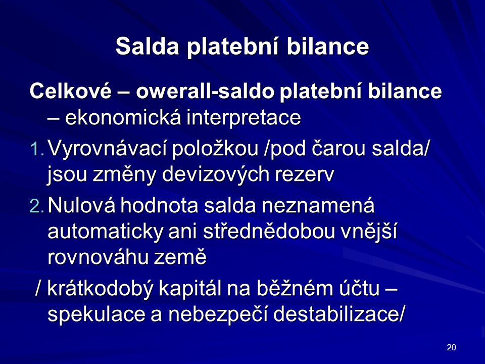 Salda platební bilance Celkové – owerall-saldo platební bilance – ekonomická interpretace 1.