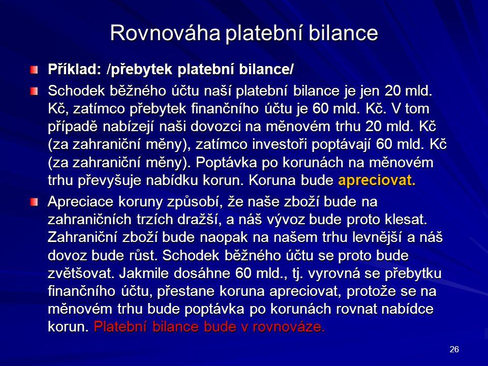 Rovnováha platební bilance Příklad: /přebytek platební bilance/ Schodek běžného účtu naší platební bilance je jen 20 mld.