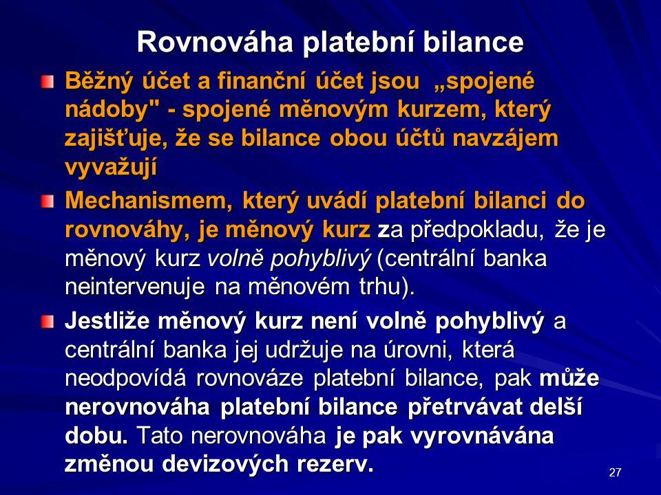 """Rovnováha platební bilance Běžný účet a finanční účet jsou """"spojené nádoby - spojené měnovým kurzem, který zajišťuje, že se bilance obou účtů navzájem vyvažují Mechanismem, který uvádí platební bilanci do rovnováhy, je měnový kurz za předpokladu, že je měnový kurz volně pohyblivý (centrální banka neintervenuje na měnovém trhu)."""