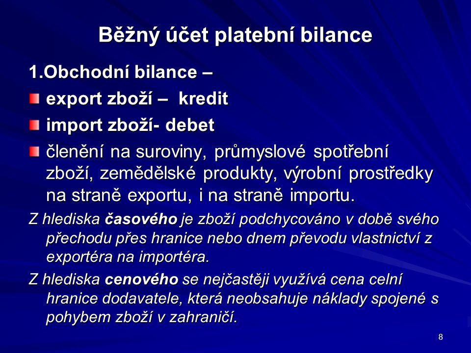 Běžný účet platební bilance 2.Bilance služeb – příjmy a výdaje za služby doprava, pojištění, licence a patenty, cestovní ruch, u hospodářsky vyspělých zemí vědeckotechnické informace.