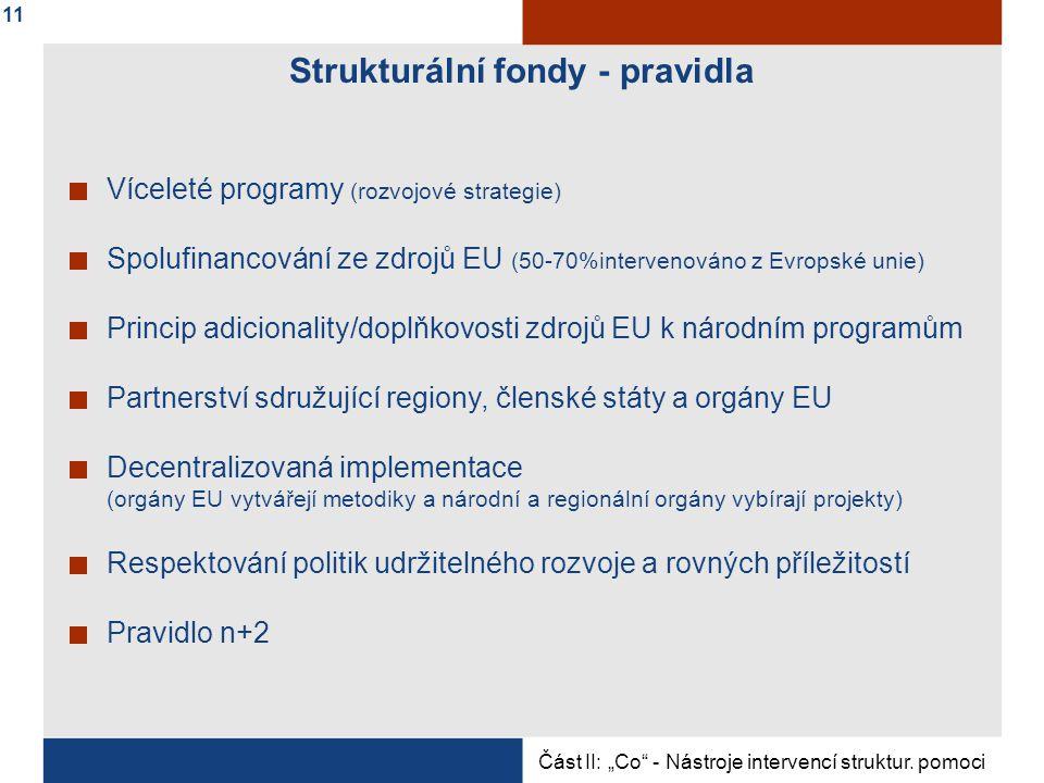 """Strukturální fondy - pravidla Víceleté programy (rozvojové strategie) Spolufinancování ze zdrojů EU (50-70%intervenováno z Evropské unie) Princip adicionality/doplňkovosti zdrojů EU k národním programům Partnerství sdružující regiony, členské státy a orgány EU Decentralizovaná implementace (orgány EU vytvářejí metodiky a národní a regionální orgány vybírají projekty) Respektování politik udržitelného rozvoje a rovných příležitostí Pravidlo n+2 Část II: """"Co - Nástroje intervencí struktur."""