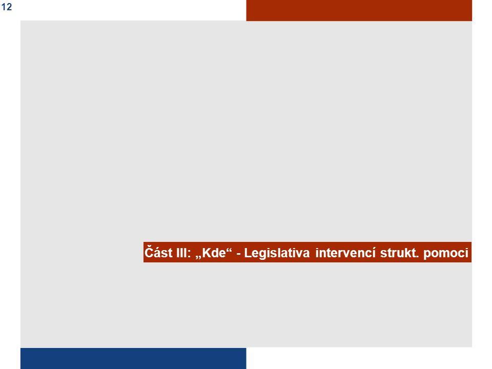 """Část III: """"Kde - Legislativa intervencí strukt. pomoci 12"""